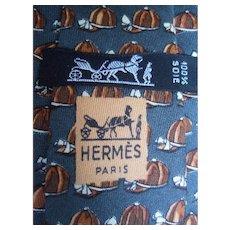 Hermes Paris Silk Equestrian Print Necktie.