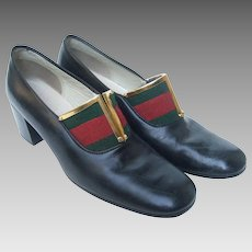Gucci Striped Trim Shoes. 1970's.