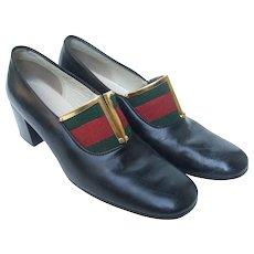 Gucci Striped Trim Shoes. 1970's.