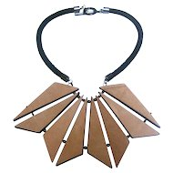 Vintage Armani Leather Statement Necklace. Reversible.