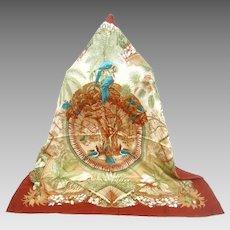 Hermes Vintage Hawaiian Theme Silk Scarf in Original Box.