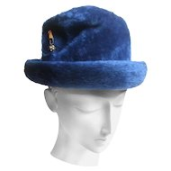 Schiaparelli Paris Fuzzy Blue Wool Hat. 1960's.