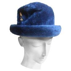 Schiaparelli Paris Fuzzy Blue Wool Hat. 1960's.