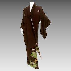 Exotic Japanese Black Crepe Kimono.  1940's.