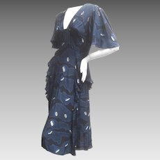 Ossie Clark Moss Crepe Dress with Celia Birtwell Fabric. Early 1970's.