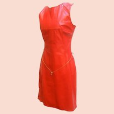 Versace Cherry Red Leather Dress with Gilt Belt.