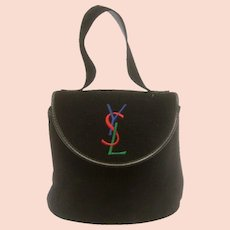 Yves Saint Laurent Chic Black Suede Embroidered Handbag. 1990's.