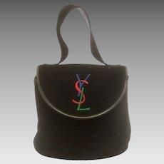 Yves Saint Laurent Chic Black Suede Embroidered Handbag. 1990's.
