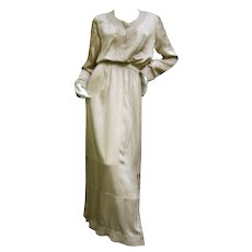 Yves Saint Laurent Rive Gauche Champagne Embroidered Silk Caftan Style Gown.