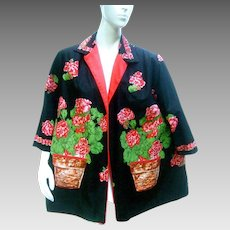 Whimsical Cotton Flower Print Jacket. 1950's.