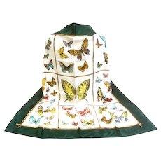 Luxurious Italian Silk Butterfly Scarf.  Huge!