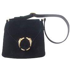 1970's Gucci Equestrian Suede Shoulder Bag. Midnight Blue.