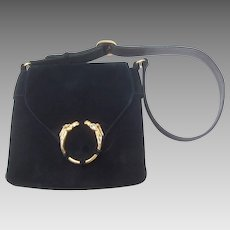 1970's Gucci Equestrian Suede Shoulder Bag. Midnight Blue.