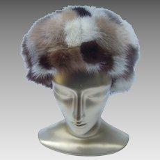 Mink Patch Hat. Saks Fifth Avenue. 1970's.