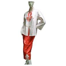 Luxurious Satin Asian Lounge Pajamas. 1960's.