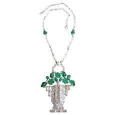 Art Deco Floral Basket Necklace. 1930's.