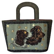 Superb Green Corduroy Tote with Needlepoint Spaniels. Saks. 1950's.