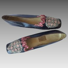 Fantastic Embroidered Beribboned Shoes. French. 1880's.