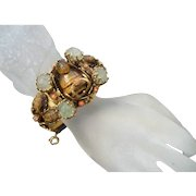 1950's Carved Tiger's Eye and Coral Buddha Bracelet.
