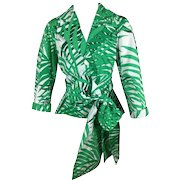 Yves Saint Laurent Fern Print Wrap Top with Obi Belt.  1990's