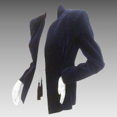 Ossie Clark Midnight Blue Velvet Jacket. Early 1970's.