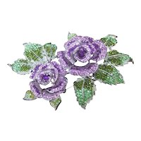 Huge Glittering Crystal Purple Rose Brooch. Simply Stunning!