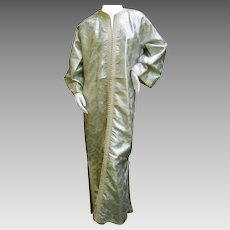 1970's Exotic Silver Metallic Lame Caftan. Saks Fifth Avenue.