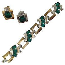 Art Deco Mazer Bracelet and Earring Set. 1930's.