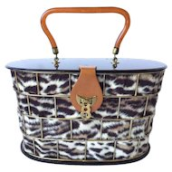 1950's Dorset Rex Cage Bag with Lucite and Faux Leopard. 1950's. Large Scale.