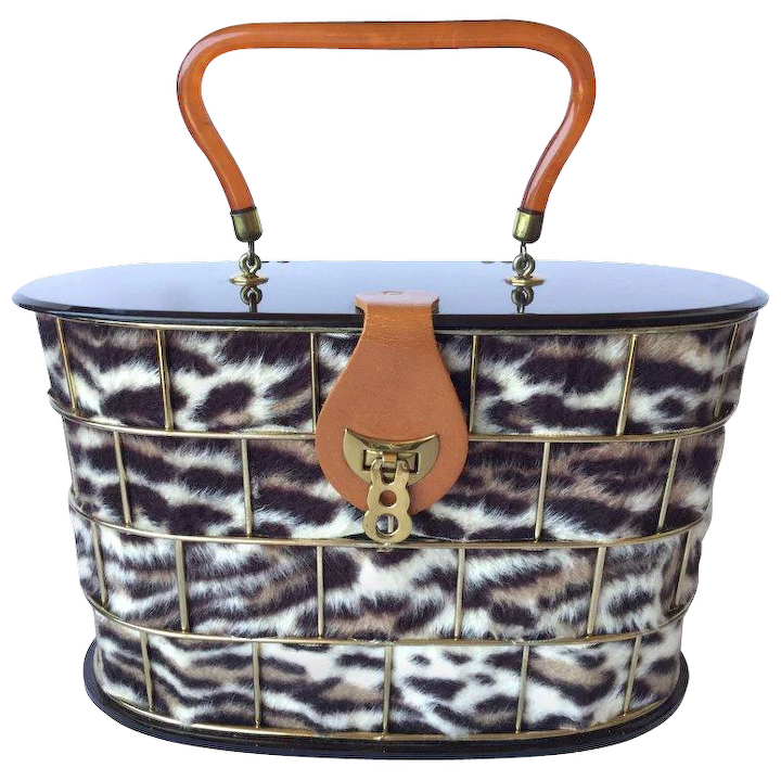 b08140c442 1950 s Dorset Rex Cage Bag with Lucite and Faux Leopard. 1950 s. Large    Annacat