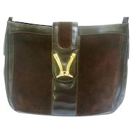 Super Rare Gucci Chocolate Brown Suede Equestrian Themed Shoulder Bag. 1970's.