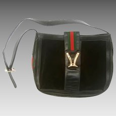 Super Rare Gucci Black Suede Equestrian Logo Shoulder Bag. 1970's.