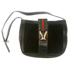Super Rare Gucci Black Suede Equestrian Logo Shoulder Bag. 1970's.