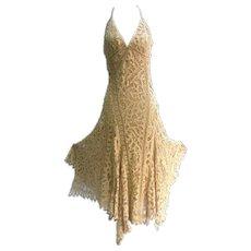 Ralph Lauren Black Label Bias Cut Tape Lace Gown.