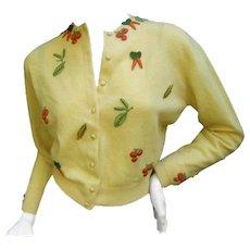 Rare Dalton Cashmere Vegetable Themed Cardigan. 1960's.