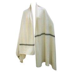 Calvin Klein Cashmere Ivory Striped Shawl Wrap. 1980's.
