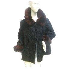 Schiaparelli Sable Trim Astrakhan Jacket. 1960's. So Luxurious!