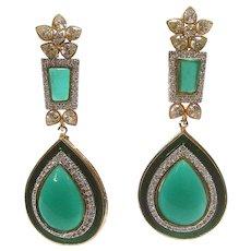 Emerald Green Poured Glass Teardrop Chandelier Earrings. Simply Exquisite!