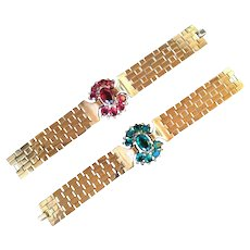 Trifari Bracelets Designed by Alfred Philippe. Spectacular Retro Style. 1940's.