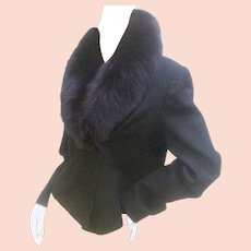 Neiman Marcus Fox Collar Black Wool Jacket. 1980's.