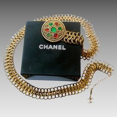 Chanel Gripoix Poured Glass Gilt Metal Belt. Dated 1984.