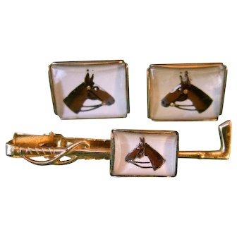 Reverse Painted Glass Equestrian Cuff Link and Tie Bar Set. 1950's.