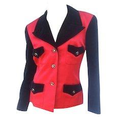 Chanel Scarlet Silk and Black Velvet Jacket. 1990's.