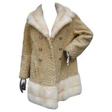 Schiaparelli Paris Blonde Mink Trim Persian Lamb Coat. Rare. 1960's.