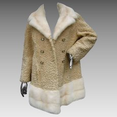 Schiaparelli Paris Blonde Mink Trim Persian Lamb Coat. Rare. 1960's.