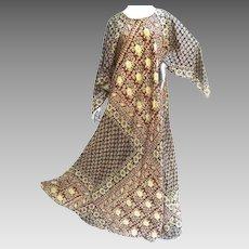 Exotic Bohemian Cotton Print Festival Caftan Gown. 1970's.
