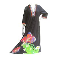 Neiman Marcus Butterfly Graphic Print Cotton Caftan. 1970's.