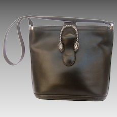 Rare Gucci Sterling Silver Tiger Clasp Black Leather Purse. 1970's.