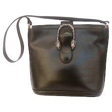 Rare Gucci Sterling Silver Tiger Clasp Black Leather Purse. 1970's.