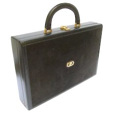 Gucci Luxurious Black Suede and Leather Briefcase. 1970's.